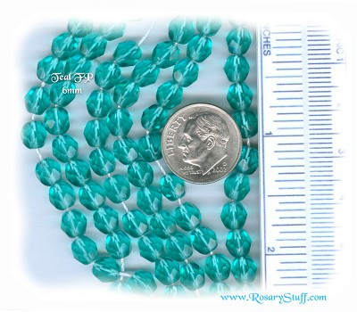 Custom Teal 6mm Fire Polished Czech Glass Rosary