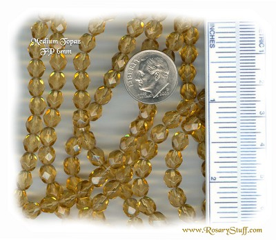 Custom Topaz (Medium) 6mm Fire Polished Czech Glass Rosary