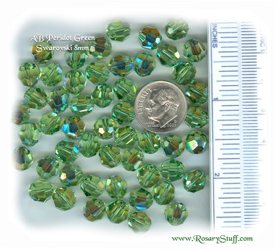 Custom Peridot AB Swarovski Crystal Rosary ~ 8mm Beads