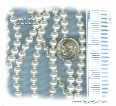 Custom White Swarovski Crystal Pearl Rosary ~ 6mm Beads