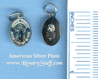 Divine Mercy with St. Faustina Bracelet Medal 1/2 in. ~ American Silver Plate