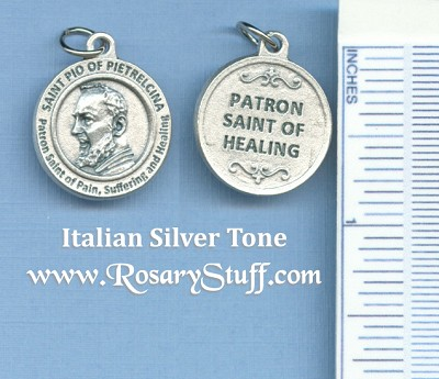 St. Padre Pio of Pietrelcina Round Silver Tone Medal for Helaing 3/4 in.