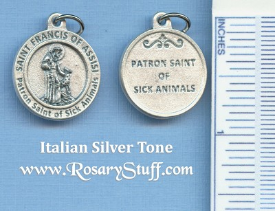 St. Francis of Assisi Round Silver Tone Medal for Sick Animals 3/4 in.