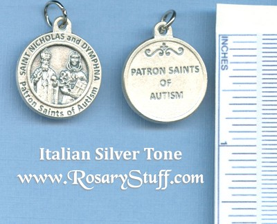 St. Nicholas & St Dymphna Round Silver Tone Medal for Autism 3/4 in.