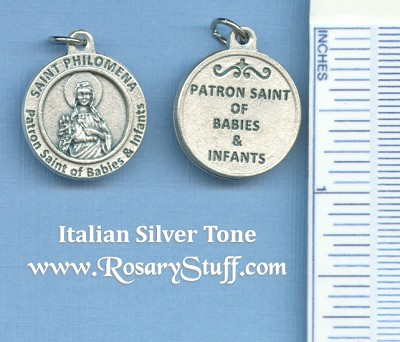 St. Philomena Patron of Babies Round Silver Tone Medal 3/4 in.