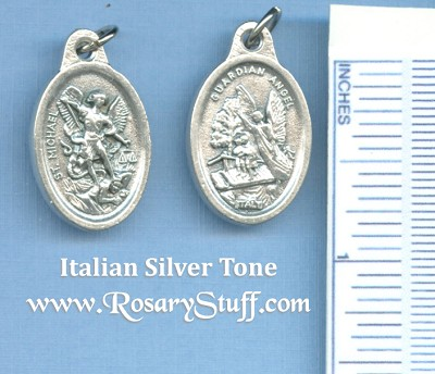 St. Michael & Guardian Angel Silver Tone Medal 7/8 in.