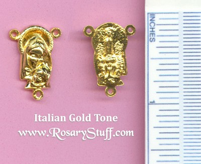 Mary with Baby Jesus Rosary Center 3/4 in. ~ Gold