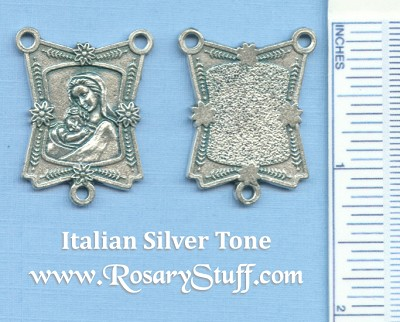 Mary with Baby Jesus Ornate Rectangle Rosary Center 1 in.