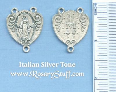 Miraculous Heart Shaped Rosary Center 1 1/4 in.