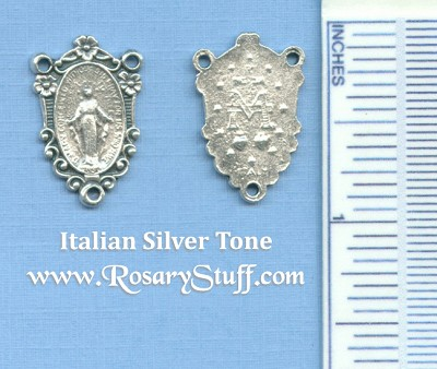 Miraculous Flowered Oval Rosary Center 7/8 in.