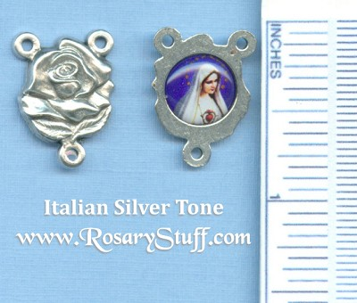 Rose with Immaculate Mary Dark Blue Photo Rosary Centerpiece 3/4 in.