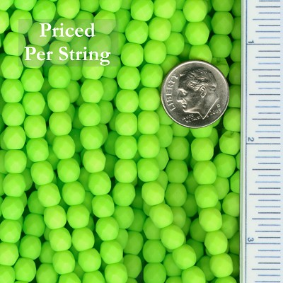 Neon LIME Green Firepolished Matte Finished Czech Glass Beads 6mm