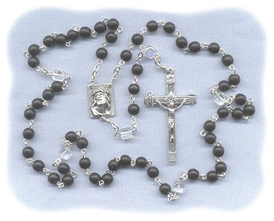 Matte Jet Black Czech Glass Rosary with AB Cube Paters