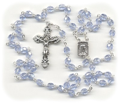 Luster Light Sapphire Blue Czech Glass Rosary