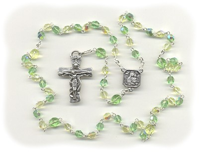 Jonquil Yellow & Peridot Green Czech Glass Rosary