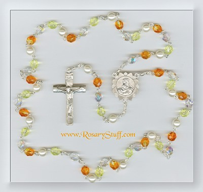 Multi-Colored Orange & Yellow Sunflower Czech Glass Rosary