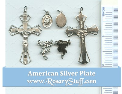 Breast Cancer Rosary Part Set ~St. Agatha ~ American Silver Plate