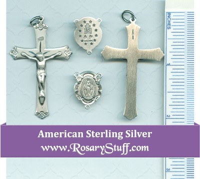 Sterling Silver Miraculous Floral Rosary Centerpiece with Simple Floral Crucifix