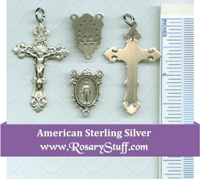 Sterling Silver Miraculous Flowered Centerpiece with Filigree Crucifix