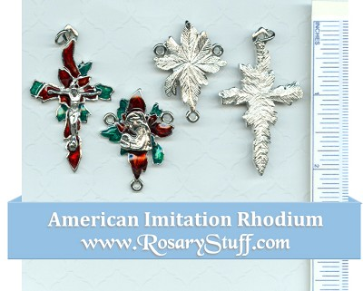 Red & Green Poinsettia Christmas Set ~ Im. Rhodium