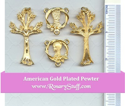 Tree of Life Rosary Part Set ~ Gold Plate