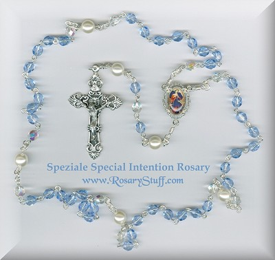 Light Sapphire Blue Czech Glass Special Intention Rosary