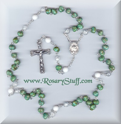 Luster T Turquoise Glass & Jade Special Intention Rosary